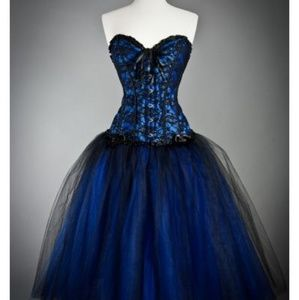 Victorian Gothic Prom Dress Corset Laceup Back